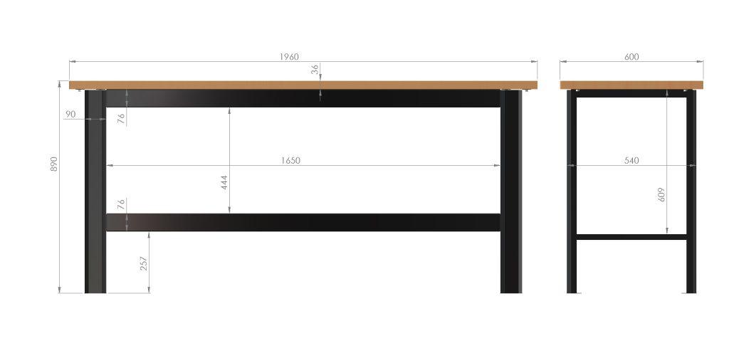 wymiary stol warsztatowy n-3-00-01