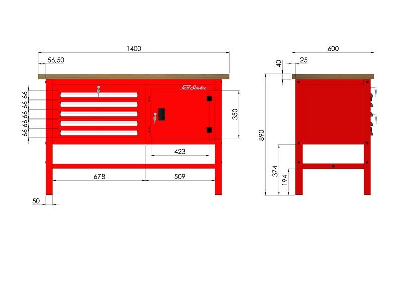 Stół warsztatowy (szer. blatu 1400mm) - P-3-044-01
