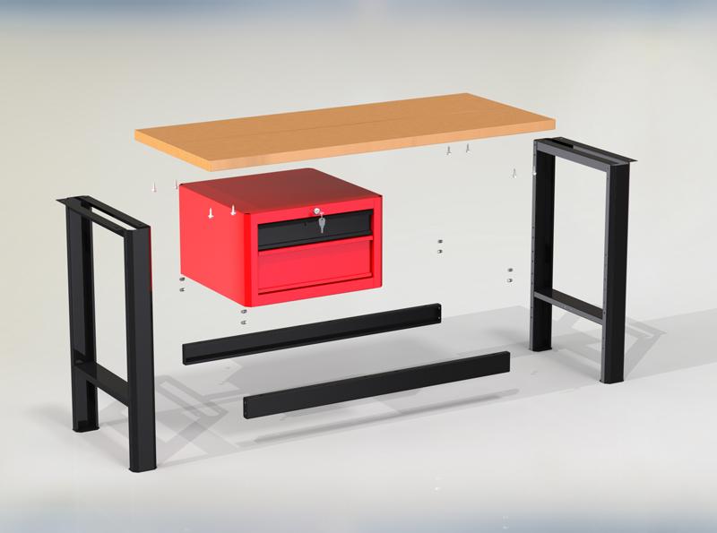 Stół warsztatowy podstawowy (szer. blatu 1400mm) - N-3-02-01