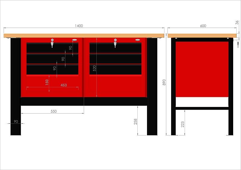 Stół warsztatowy (szer. blatu 1400mm) - N-3-05-01