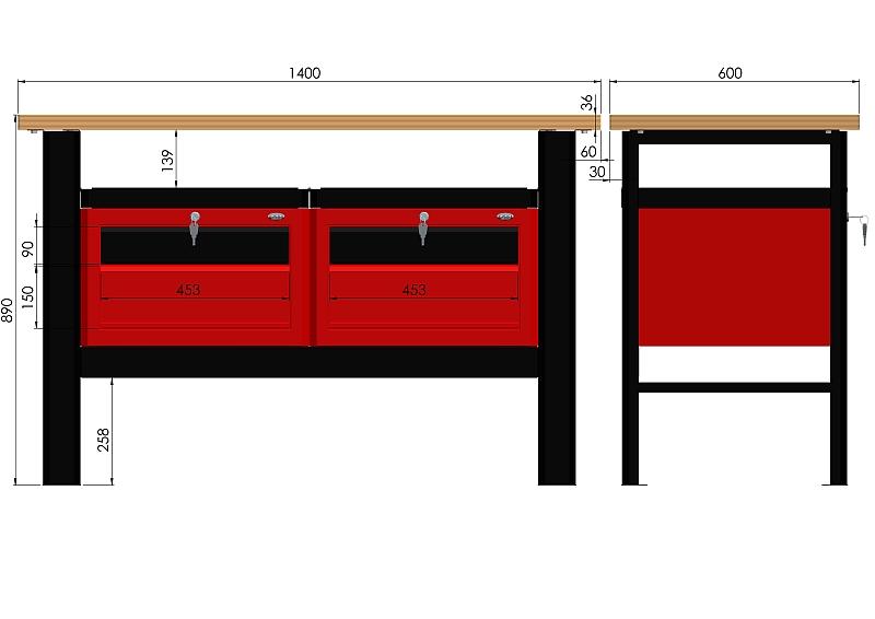 Stół warsztatowy (szer. blatu 1400mm) - N-3-10-01
