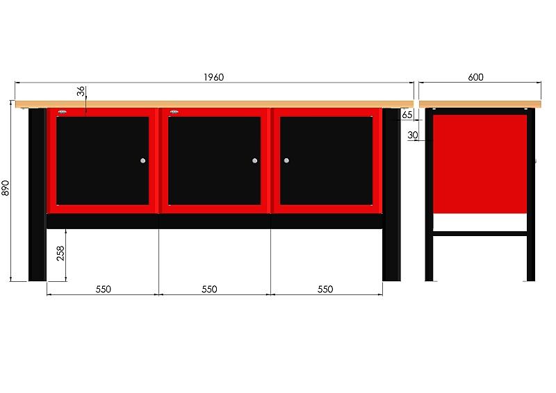 Stół warsztatowy (szer. blatu 1960mm) - N-3-18-01