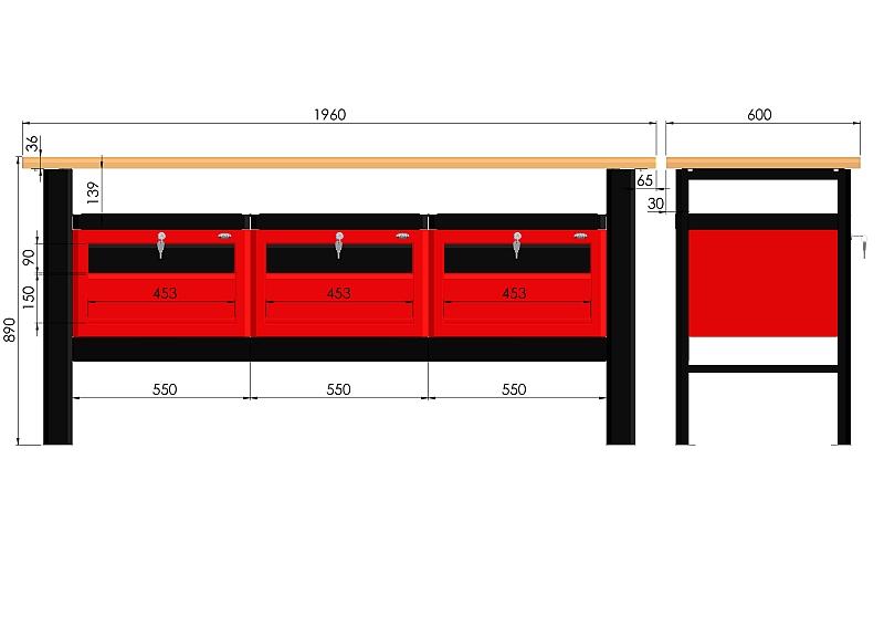 Stół warsztatowy (szer. blatu 1960mm) - N-3-19-01