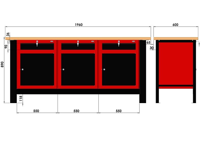 Stół warsztatowy (szer. blatu 1960mm) - N-3-25-01