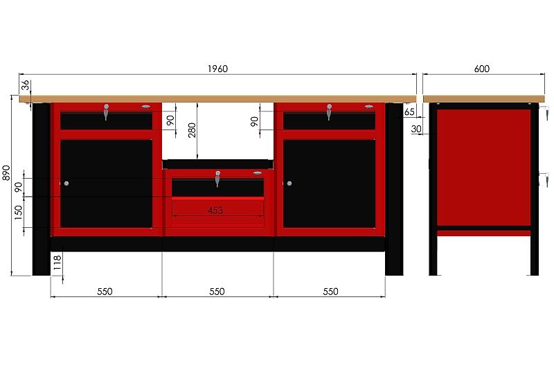 Stół warsztatowy (szer. blatu 1960mm) - N-3-26-01