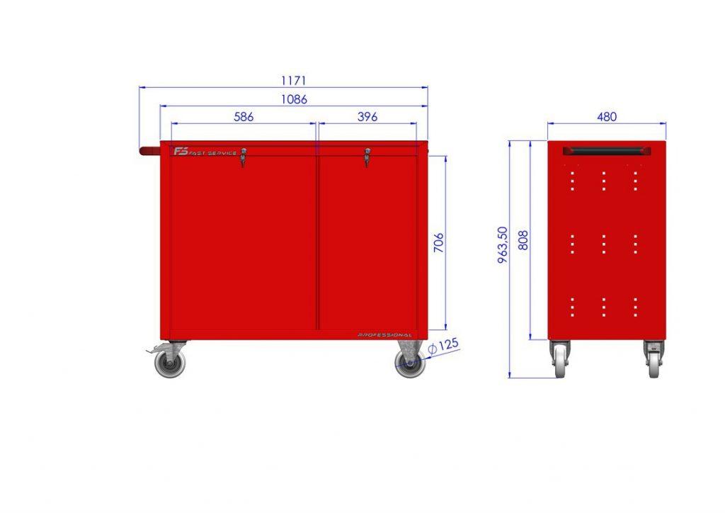 Wózek warsztatowy TRUCK z 8 szufladami PT-223-23
