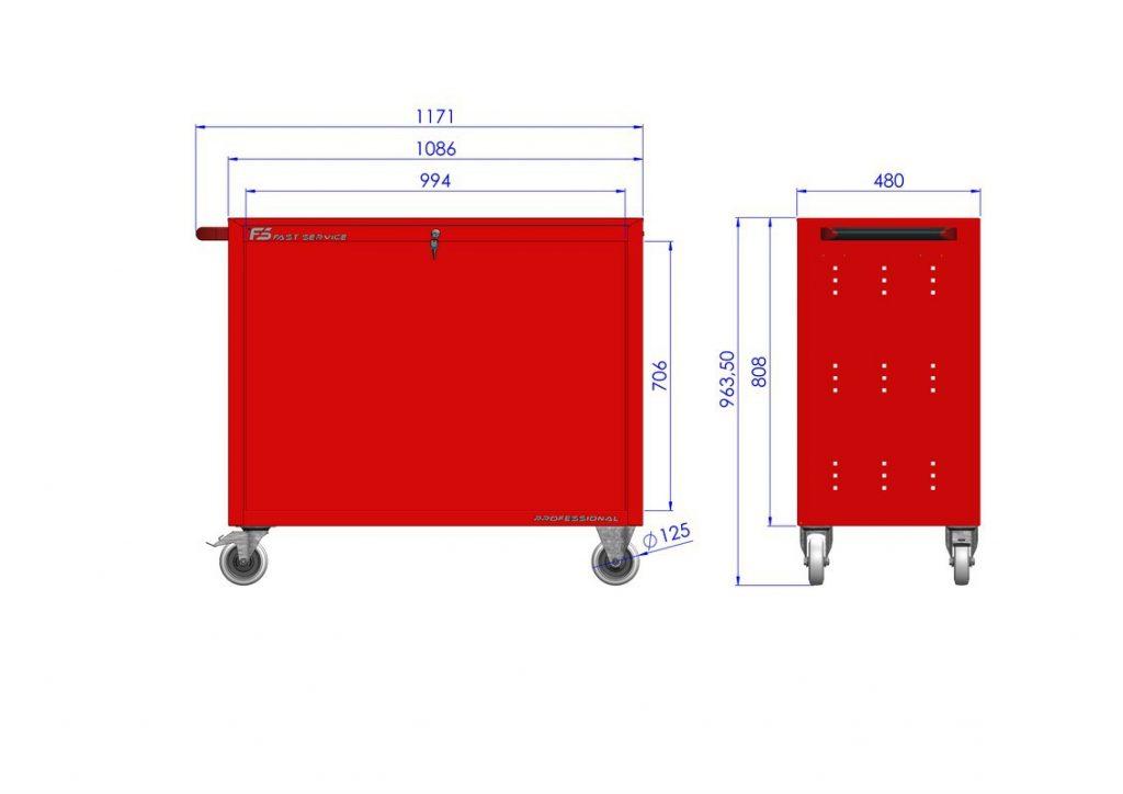 Wózek warsztatowy TRUCK z 4 szufladami PT-223