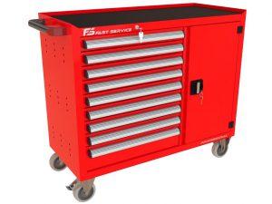 Wózek warsztatowy TRUCK z 9 szufladami i drzwiami PT-211-40