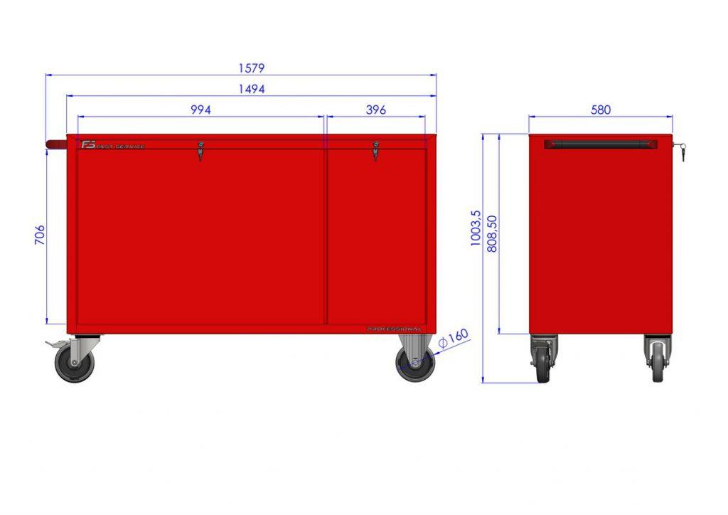 Wózek warsztatowy MEGA z 8 szufladami PM-223-23