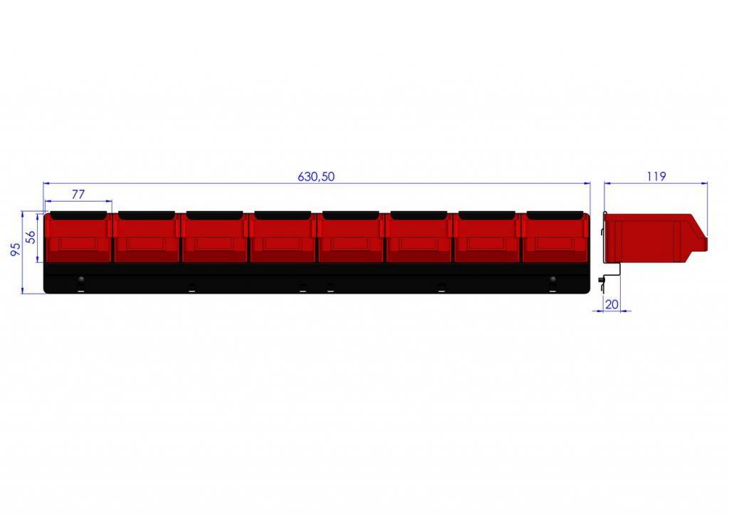 Listwa na 8 pojemników P1 ZW-P1-8