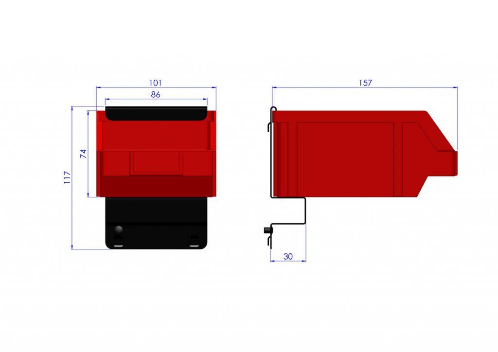 Listwa na 1 pojemnik P2 ZW-P2-1