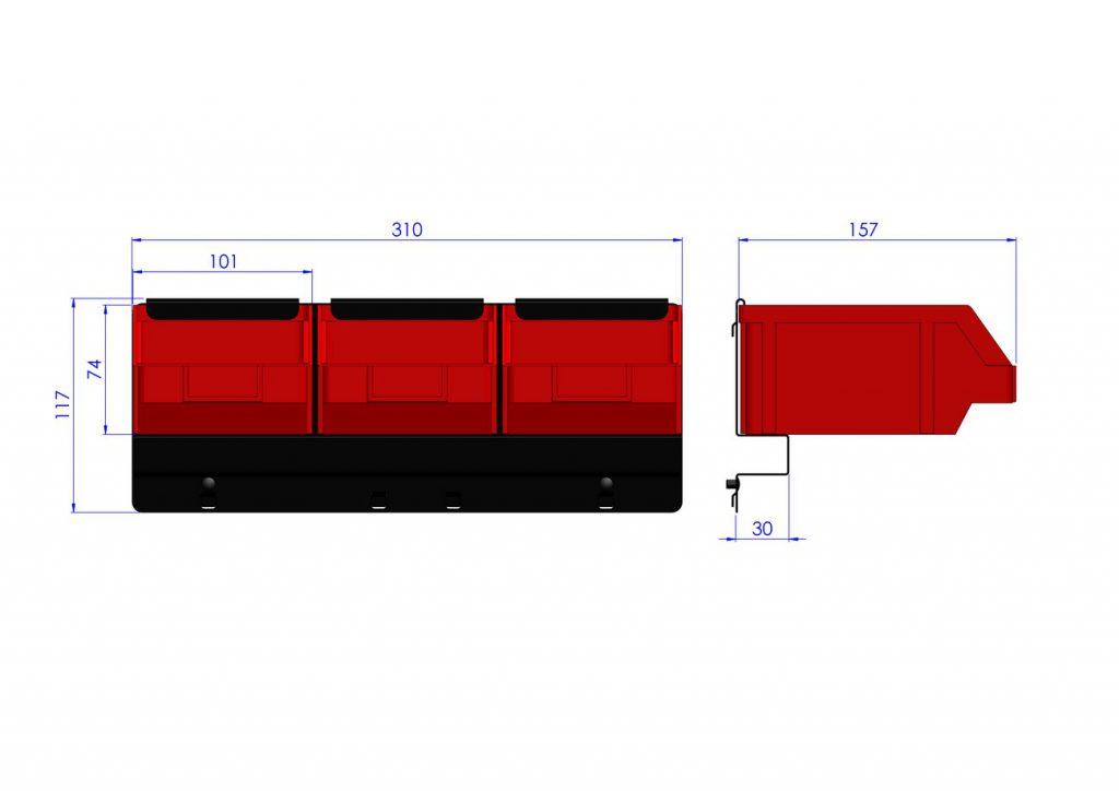 Listwa na 3 pojemniki P2 ZW-P2-3