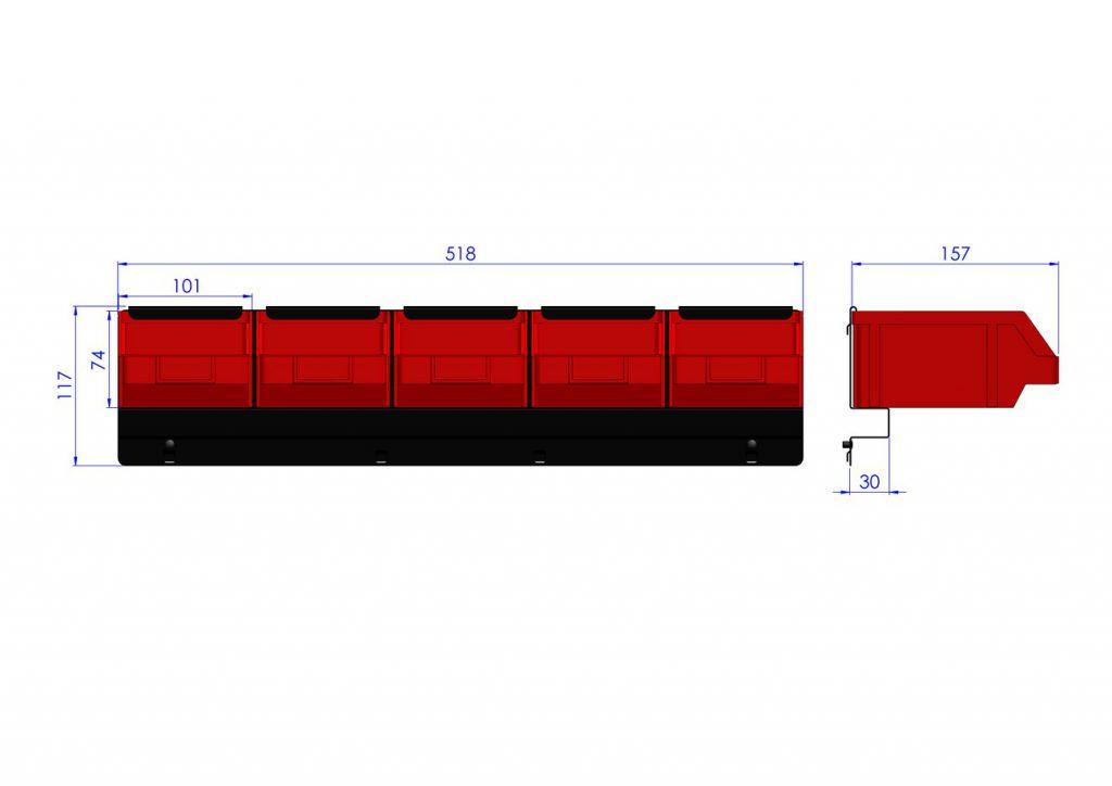 Listwa na 5 pojemników P2 ZW-P2-5