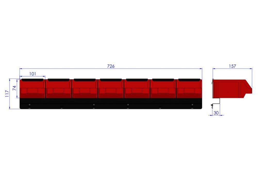 Listwa na 7 pojemników P2 ZW-P2-7