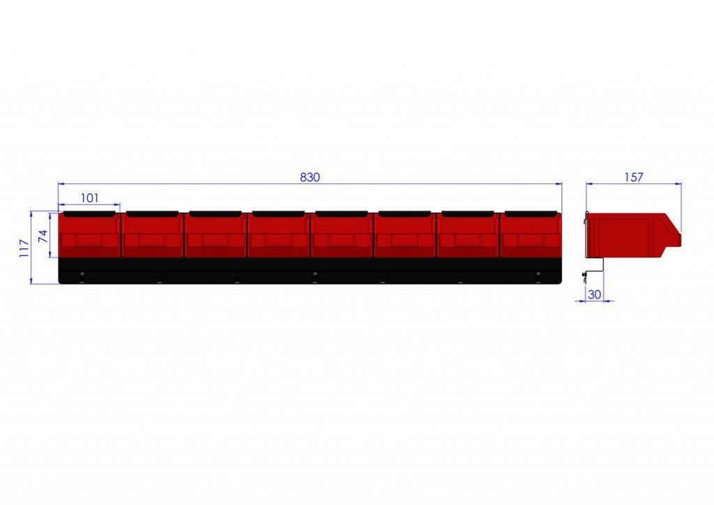 Listwa na 8 pojemników P2 ZW-P2-8