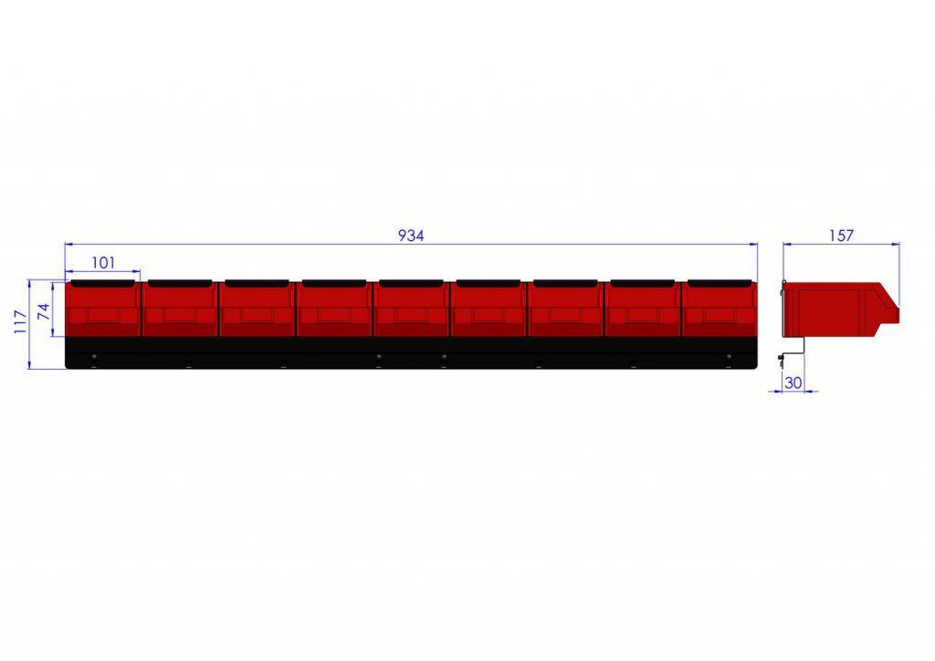 Listwa na 9 pojemników P2 ZW-P2-9